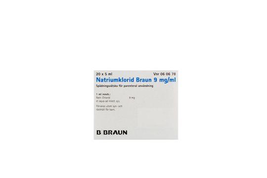 Natriumklorid Braun Spädningsvätska för parenteral användning 9 mg/ml Natriumklorid 20 x 5 milliliter