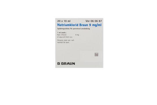 Natriumklorid Braun Spädningsvätska för parenteral användning 9 mg/ml Natriumklorid 20 x 10 milliliter