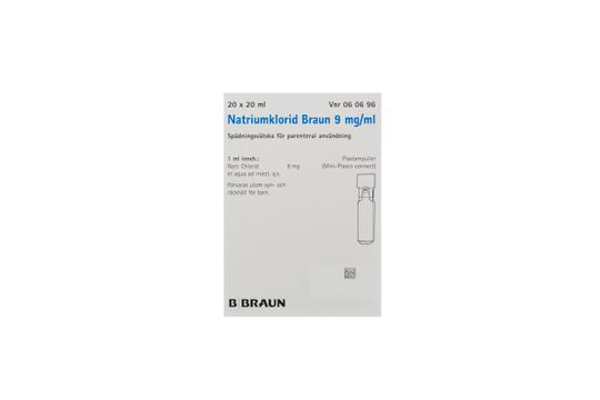 Natriumklorid Braun Spädningsvätska för parenteral användning 9 mg/ml Natriumklorid 20 x 20 milliliter