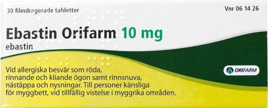 Ebastin Orifarm 10 mg Ebastin, filmdragerad tablett, 30 st
