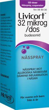 Livicort 32 mikrogram/dos Budesonid, nässpray, suspension, 120 doser