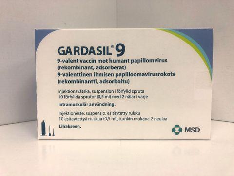 Gardasil 9 Injektionsvätska, suspension, förfylld spruta 10 x 1 x 0,5 milliliter