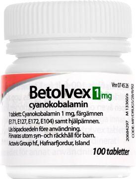 Betolvex 1 mg Cyanokobalamin, filmdragerad tablett, 100 st