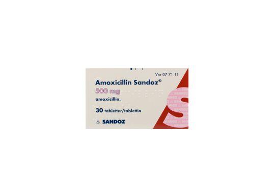 Amoxicillin Sandoz Filmdragerad tablett 500 mg Amoxicillin 30 tablett(er)