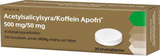 Acetylsalicylsyra/Koffein Apofri 500 mg/50 mg Acetylsalicylsyra, koffein, brustablett, 20st