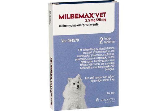 Milbemax vet. 2,5 mg/25 mg Milbemycinoxim/Prazikvantel, tuggtablett, 2 st