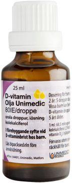 D-vitamin Olja Unimedic Orala droppar, lösning 80 IE/droppe Vitamin D Olja 25 milliliter