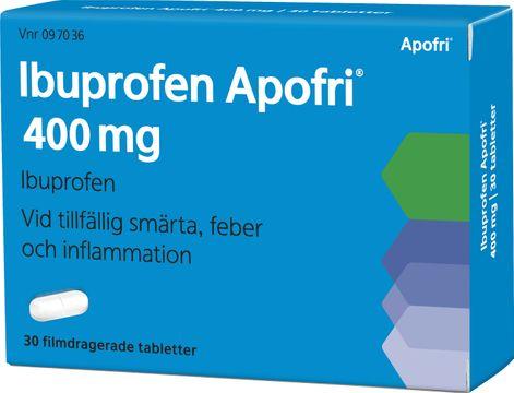 Ibuprofen Apofri 400 mg Ibuprofen, filmdragerad tablett, 30 st