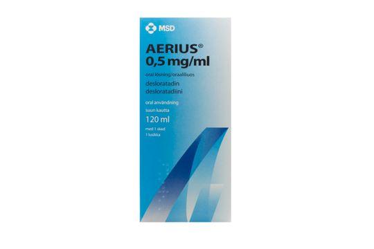 Aerius Oral lösning 0,5 mg/ml Desloratadin 120 milliliter