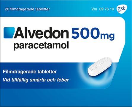 Alvedon 500 mg Paracetamol, filmdragerad tablett, 20 st