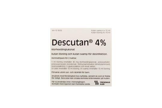 Descutan 4% Klorhexidin, kutan lösning och medicinerande svamp, 4 x 15 ml