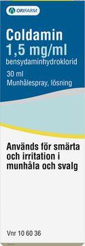 Coldamin Munhålespray, lösning 1,5 mg/ml Bensydamin 30 milliliter