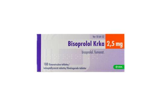 Bisoprolol Krka Filmdragerad tablett 2,5 mg Bisoprolol 100 tablett(er)