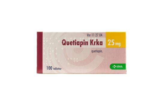 Quetiapin Krka Filmdragerad tablett 25 mg Kvetiapin 100 tablett(er)