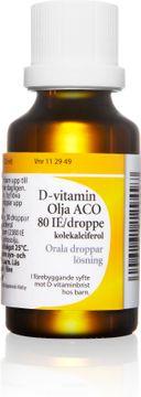 D-vitamin Olja ACO 80 IE/droppe Kolekalciferol, orala droppar, 25 ml