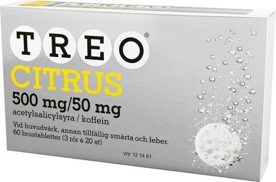 Treo Citrus Brustablett 500 mg/50 mg Acetylsalicylsyra/Koffein, brustablett, 3 x 20 st
