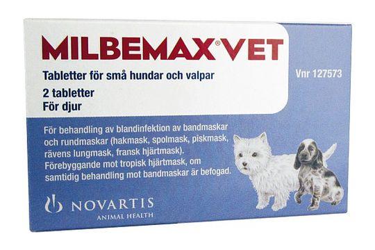 Milbemax vet. för små hundar och valpar 2,5 mg, 25 mg Milbemycinoxim/Prazikvantel, tablett, 2 st
