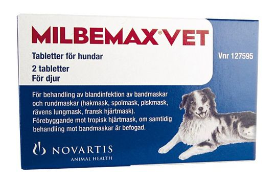 Milbemax vet. för hundar 12,5 mg, 125 mg Milbemycinoxim/Prazikvantel, tablett, 2 st
