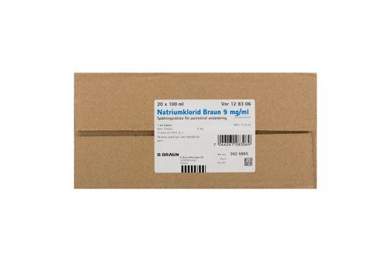 Natriumklorid Braun Spädningsvätska för parenteral användning 9 mg/ml Natriumklorid 20 x 100 milliliter