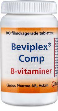 Beviplex Comp Filmdragerad tablett Cyanokobolamin + folsyra + kalciumpantotenat + nikotinamid + pyidoxin + riboflavin + tiamin 100 styck