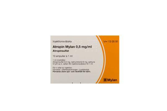 Atropin Mylan Injektionsvätska, lösning i cylinderampull 0,5 mg/ml 10 x 1 milliliter