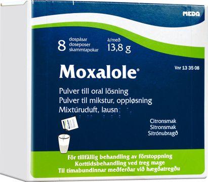 Moxalole Pulver till oral lösning i dospåse Makrogol, kaliumklorid, natriumbikarbonat, natriumklorid 8 styck