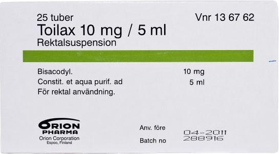 Toilax Rektalsuspension 10 mg/5 ml 25 x 5 milliliter