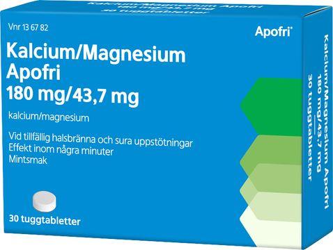 Apofri Kalcium/Magneisum 180 mg / 43,7 mg Kalciumkarbonat, magnesiumhydroxid, tuggtablett, 30 st