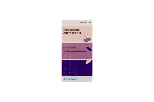 Paracetamol Alternova Filmdragerad tablett 1 g Paracetamol 100 tablett(er)