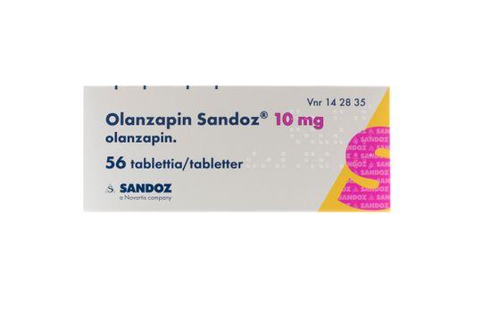 Olanzapin Sandoz Filmdragerad tablett 10 mg Olanzapin 56 tablett(er)
