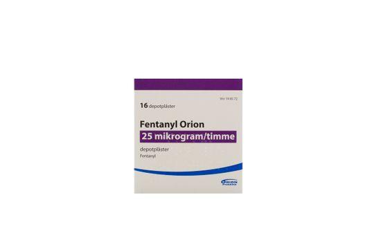 Fentanyl Orion Depotplåster 25 mikrogram/timme Fentanyl 16 styck