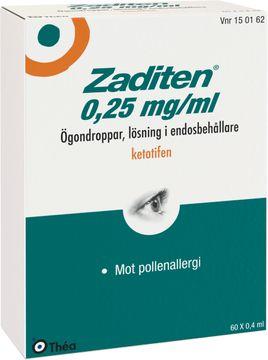 Zaditen Ögondroppar, lösning i endosbehållare 0,25 mg/ml Ketotifen 60 x 0,4 milliliter
