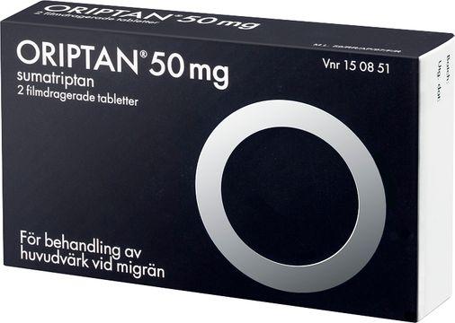 Oriptan 50 mg Sumatriptan, tablett, 2 st