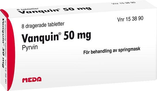 Vanquin 50 mg mot springmask Dragerad tablett. 8 st