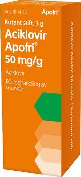Aciklovir Apofri 50 mg/g Aciklovir, stift, 3 g