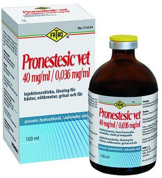 Pronestesic vet Injektionsvätska, lösning 40 mg/ml + 0,036 mg/ml 100 milliliter