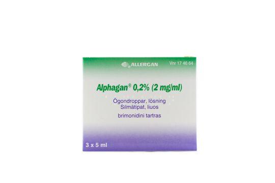 Alphagan Ögondroppar, lösning 0,2 % (2 mg/ml) Brimonidin 3 x 5 milliliter