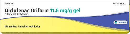 Diclofenac Orifarm Gel 11,6 mg/g Diklofenak 100 gram