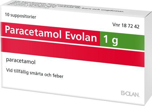 Paracetamol Evolan Suppositorium 1 g Paracetamol 10 suppositorium/suppositorier