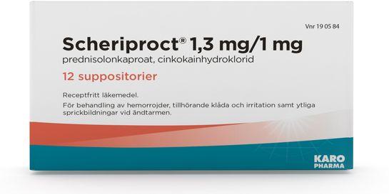 Scheriproct Suppositorium 1,3 mg/1 mg 12 suppositorium/suppositorier