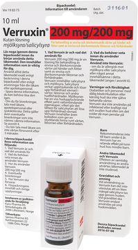 Verruxin Kutan Lösning 200 mg/200 mg Mjölksyra/Salicylsyra, lösning, 10 ml