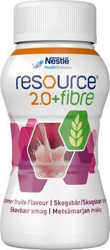 Resource 2,0 + fibre drickfärdigt, komplett kosttillägg, skogsbär 4 x 200 milliliter