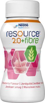 Resource 2,0 + fibre drickfärdigt, komplett kosttillägg, jordgubb 4 x 200 milliliter