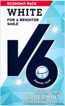 V6 Sokerfritt White Peppermint Tuggummi, 50 st