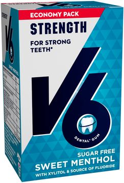 V6 Strong Teeth tuggummi Sweet Menthol. 50 st