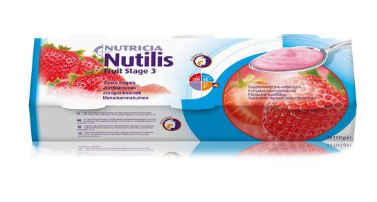 Nutilis Fruit stage 3 komplett kosttillägg, jordgubb 3 x 150 gram