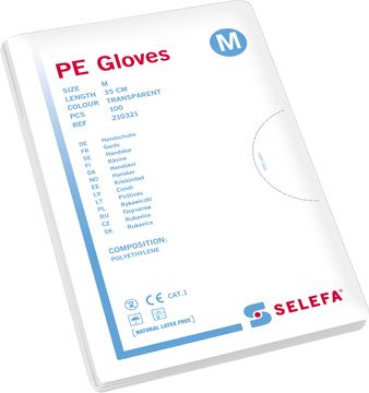 Selefa PE Gloves Medium. Undersökningshandske. 100 st