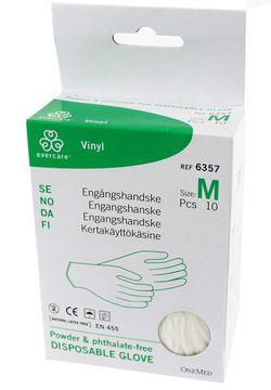 Evercare plasthandske Engångshandskar i vinyl, medium. 5 par.