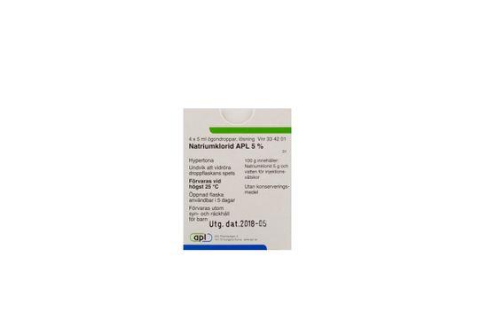 Natriumklorid APL Ögondroppar, lösning 5 % 4 x 5 milliliter