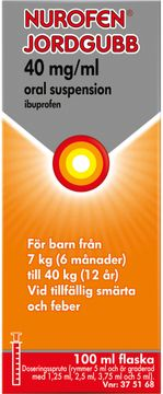 Nurofen Jordgubb 40 mg/ml Ibuprofen, oral suspension, 100 ml